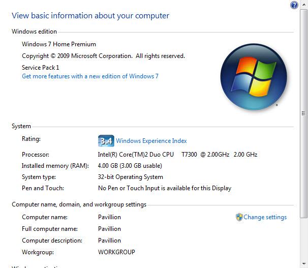 windows 7 my computer properties